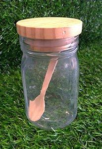 Pote de Vidro Hermético com Colher e Tampa de Madeira - 300ml - 7cm x 11,5cm - Cromus - Rizzo
