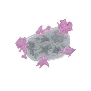 Molde de Silicone Fundo do Mar Feminino Ref. 606 Flexarte Rizzo Confeitaria