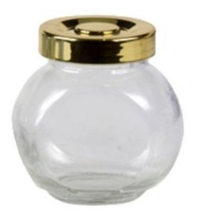 Mini Pote de Vidro Baleiro 45ml com Tampa Dourada - 45ml - 01 unidade - Rizzo