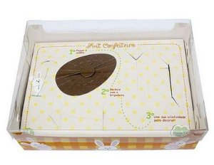 Caixa Kit Confeiteiro Xadrez Laranja - Meio Ovo de 150g - 22x16x6,5cm - 10 unidades - Ideia Embalagens