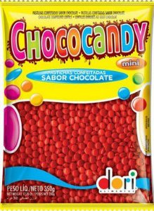 Pastilhas Confeitadas Sabor Chocolate Mini Vermelho 350g - Dori Alimentos - Rizzo