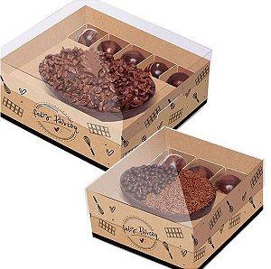 Caixa New Practice Meio Ovo - Feito com Amor Kraft - 06 unidades - Cromus Páscoa - Rizzo Confeitaria