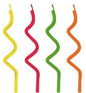 Vela Espiral Neon - 18 un - Silver Festas