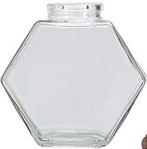Potinho de Vidro Hexagonal com Tampa de Rolha - 50ml - Rizzo