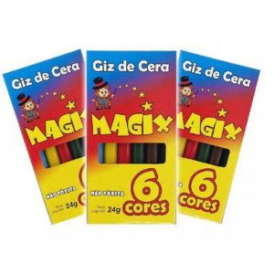 Giz de Cera para Colorir 24g - 06 unidades - Magix - Rizzo