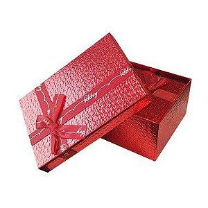 Kit Caixa Rígida Retangular Vermelho com Laço - 03 Unidades - Rizzo