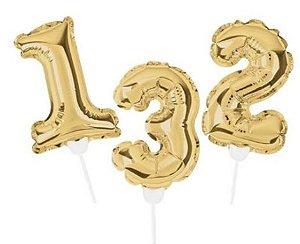 Topo de Bolo de Balão Auto Inflável - Ouro - Cromus - Rizzo