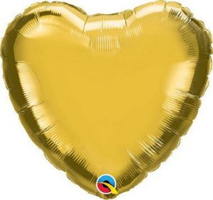 """Balão de Festa Microfoil 18"""" 45cm - Coração Ouro Metálico - 01 Unidade - Qualatex - Rizzo"""