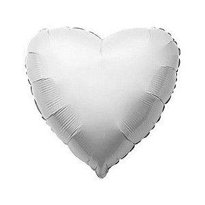 """Balão de Festa Metalizado 20"""" 50cm - Coração Branco - 01 Unidade - Flexmetal - Rizzo"""