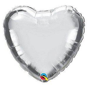 """Balão de Festa Microfoil 18"""" 45cm - Coração Prata Metalizado - 01 Unidade - Qualatex - Rizzo"""