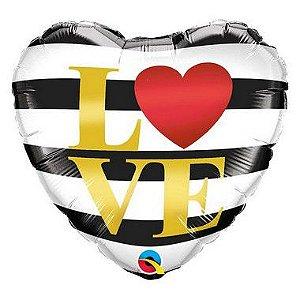 """Balão de Festa Microfoil 18"""" 45cm - Coração Listra Love - 01 Unidade - Qualatex - Rizzo"""