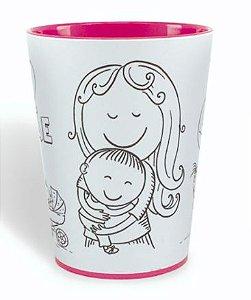 Copo para Colorir Color Te Amo Mãe 10cm - 01 unidade - Rizzo