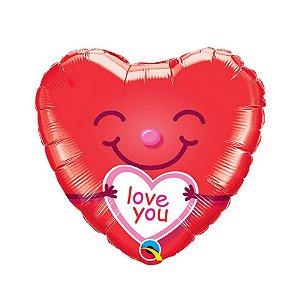 """Balão de Festa Microfoil 18"""" 45cm - Coração I Love You Sorridente - 01 Unidade - Qualatex - Rizzo"""