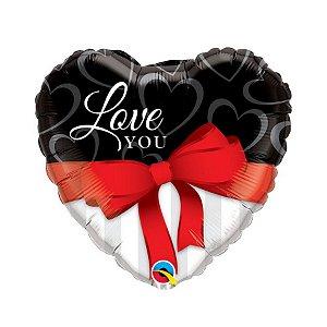 """Balão de Festa Microfoil 18"""" 45cm - Coração I Love You - 01 Unidade - Qualatex - Rizzo"""