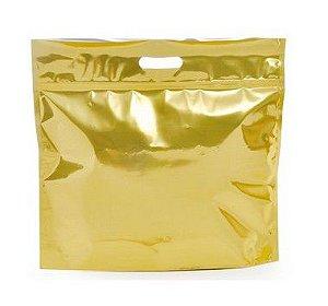 Sacola Metalizada com Zip P 32x40x5cm Dourado - 01 unidade - Cromus - Rizzo