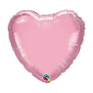"""Balão Microfoil Coração 18"""" 45cm - Rosa Perolado - 01 Unidade - Qualatex - Rizzo"""