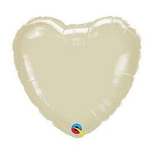 """Balão Microfoil Coração 18"""" 45cm - Marfim Perolado - 01 Unidade - Qualatex - Rizzo"""
