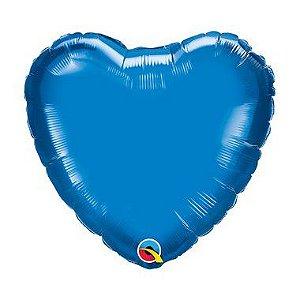 """Balão Microfoil Coração 18"""" 45cm - Azul Safira - 01 Unidade - Qualatex - Rizzo"""