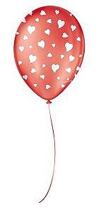 """Balão Decorado Coração - Vermelho 9"""" 23cm - 25 Unidades - São Roque - Rizzo"""