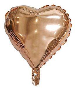 """Balão Microfoil Coração Rose Gold - 18"""" 45cm - 01 Unidade - Rizzo"""