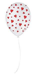 """Balão Decorado Coração - Branco 9"""" 23cm - 25 Unidades - São Roque - Rizzo"""
