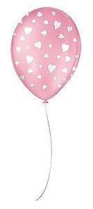 """Balão Decorado Coração - Rosa Tutti Frutti 9"""" 23cm - 25 Unidades - São Roque - Rizzo"""