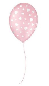 """Balão Decorado Coração - Rosa Baby 9"""" 23cm - 25 Unidades - São Roque - Rizzo"""