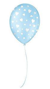 """Balão Decorado Coração - Azul Baby 9"""" 23cm - 25 Unidades - São Roque - Rizzo"""
