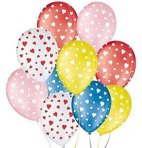 """Balão Decorado Coração - Sortido 9"""" 23cm - 25 Unidades - São Roque - Rizzo"""