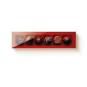 Caixa 6 Doces Retangular Vermelho com Tampa Cristal - 10 unidades - 24x6x4cm - Cromus Profissional