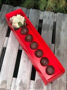 Caixa Botão de Rosa com Brigadeiro Vermelha 5 un. Assk Rizzo