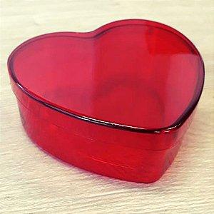 Coração de Acrílico Vermelho Grande 10cm x 10cm x 4cm 6 unidades - Rizzo Confeitaria