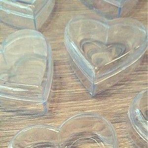 Coração de Acrílico Transparente Pequeno 5cm x 5cm x 2cm - 10 unidades - Rizzo