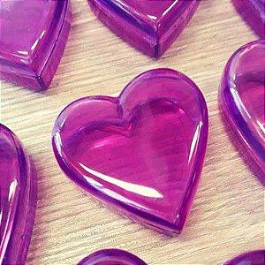 Coração de Acrílico Lilás Pequeno 5cm x 5cm x 2cm - 10 unidades - Rizzo