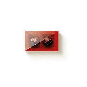Caixa 2 Doces Retangular Vermelho com Tampa Cristal - 10 unidades - 8,5x5x4cm - Cromus Profissional