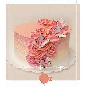 Topo de Bolo Borboletas Rosa 10u - Rizzo Confeitaria