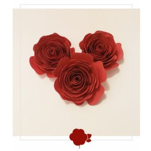 Topo de Bolo Rosas Marsala P 3u - Rizzo Confeitaria