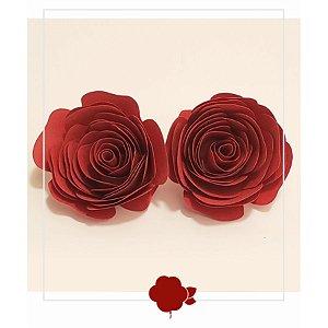 Topo de Bolo Rosas Marsala M 2u - Rizzo Confeitaria