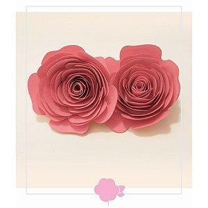 Topo de Bolo Rosas Rosa M 2u - Rizzo Confeitaria
