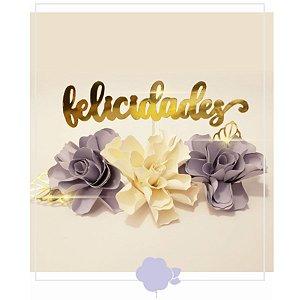 Topo de Bolo Flores Tons Lilás - Rizzo Confeitaria