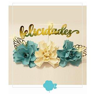 Topo de Bolo Flores Tons Tiffany - Rizzo Confeitaria