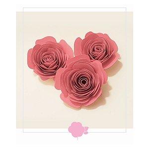 Topo de Bolo Rosas Rosa P 3u - Rizzo Confeitaria