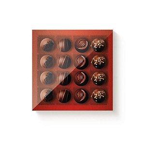 Caixa 16 Doces Quadrada Vermelho com Tampa Cristal - 10 unidades - 16,8x16,8x4cm - Cromus Profissional - Rizzo