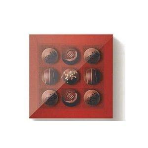 Caixa 9 Doces Quadrada Vermelho com Tampa Cristal - 10 unidades - 13x13x4cm - Cromus Profissional