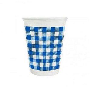 Copo de Plástico Xadrez Azul 200ml - 25 unidades - Kaixote - Rizzo