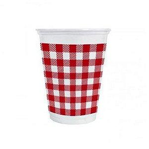 Copo de Plástico Xadrez Vermelho 200ml - 25 unidades - Kaixote - Rizzo