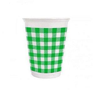 Copo de Plástico Xadrez Verde 200ml - 25 unidades - Kaixote - Rizzo