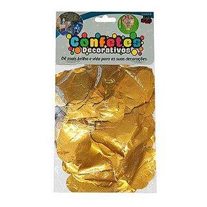 Confete Coração Metalizado 25g - Dourado Dupla Face - Rizzo