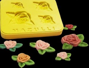 Molde Silicone 4 Rosas com Folhas Cod. 2281 Mazulli Rizzo Confeitaria