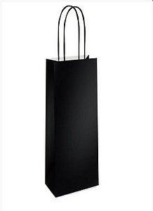 Sacola de Papel Garrafa 35x13x8cm - Preto - 10 unidades - Cromus - Rizzo